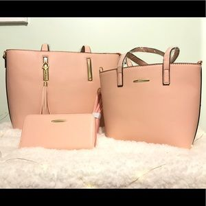 Bags - 3-piece set Blush Pink Purse,Mini Purse,Wallet